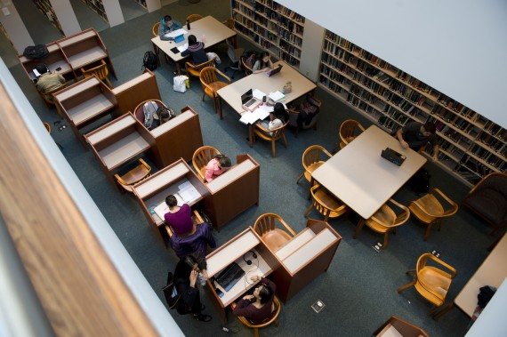 December 1, 2014 - Students studied on the third floor of Snell Library.