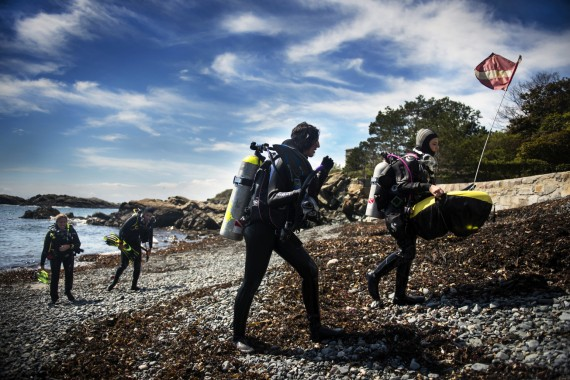 Graduate students in Northeastern's Three Seas program go for a dive at Northeastern's Marine Science Center campus in Nah...