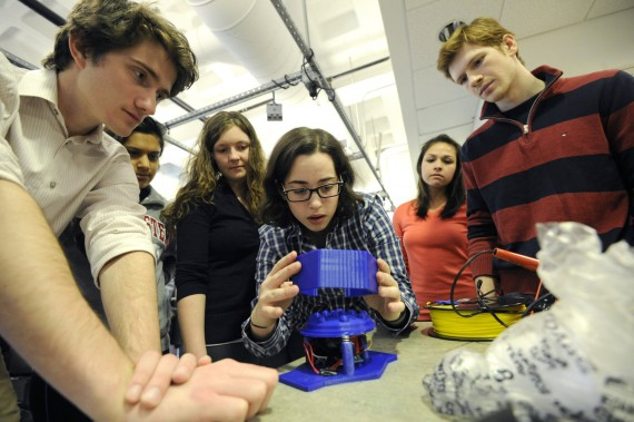 03/01/16 - BOSTON, MA. - Students work on their Enabling Engineering capstone projects in the ECE Capstone Lab in Hayden H...