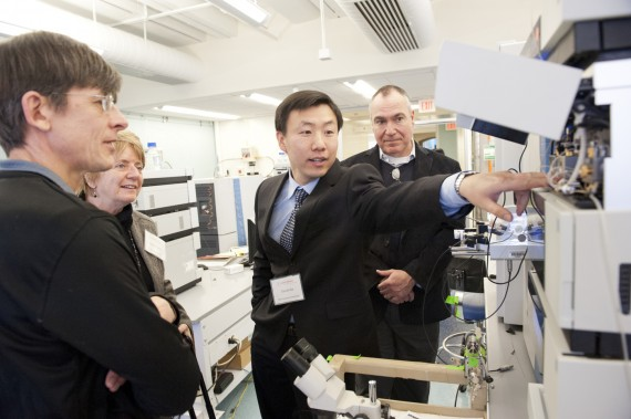 January 22, 2013 - Daniel Dai, second from right, a Principal Research Scientist at the Barnett Institute of Chemical and ...