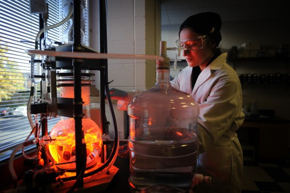 11/01/16 - BOSTON, MA. - PhD student, Kendra Marcus, works on a water purification system in the Mattos Lab inside Hurtig ...