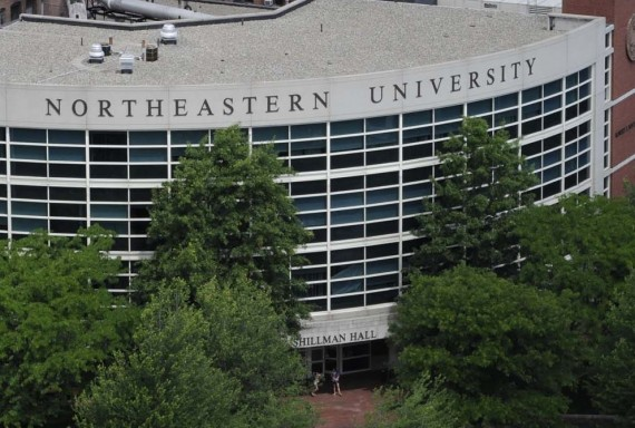 Northeastern University as seen from above. Aerial photography taken around campus in June 2010.