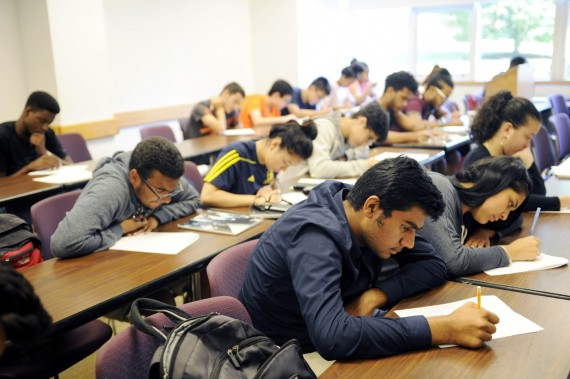 08/06/15 - BOSTON, MA. - Inner-city high school students take their final exam during the Bridge to Calculus program held ...