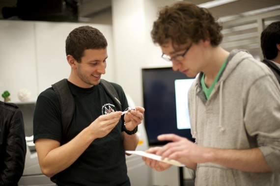 November 4, 2013 - Nick Picca, left, a third-year mechanical engineering and physics dual major, and Greg Allan, a third-y...