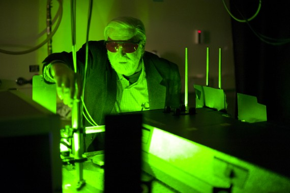 November 30, 2012 - Paul Champion, Chair of the Physics Department, works with lasers to analyze biomolecules.