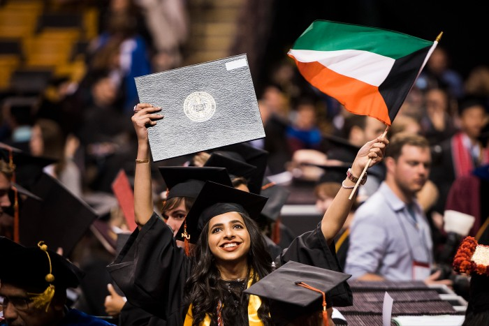 05/05/17 - BOSTON, MA. - Northeastern University celebrated its 115th Commencement on May 5, 2017. President Joseph E. Aoun led the undergraduate ceremony, which was held at TD Garden in Boston. CNN anchor and chief international correspondent Christiane Amanpour delivered the Commencement address. Northeastern conferred honorary degrees upon a distinguished group of influential figures: Lucian Grainge, chairman and CEO of Universal Media Group, Diana Natalicio, president of the University of Texas at El Paso, and Dr. Myechia Minter-Jordan, president and CEO of The Dimock Center. Photo by Adam Glanzman/Northeastern University